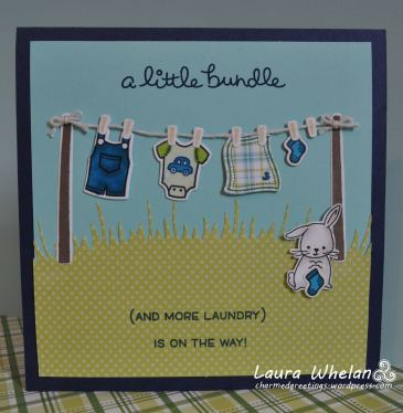 Cute baby boy handmade card using Lawn Fawn's Little Bundle stamp and die sets.