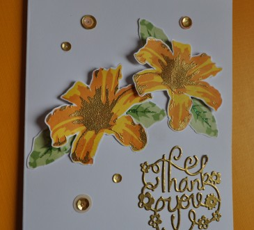 Heat embossed handmade card with lovely shades of yellow and gold. I used Altenew's Layered Lily stamp set and pretty sequins for a clean and elegant thank you card.