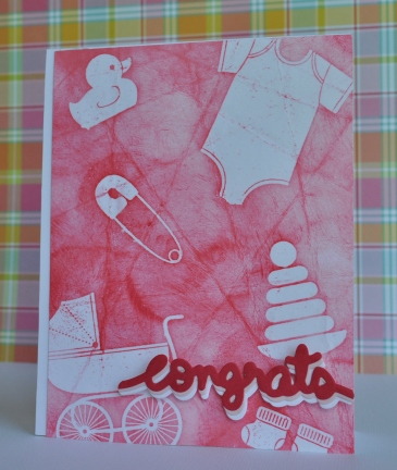 Batik background handmade baby card using Stampin' UP!