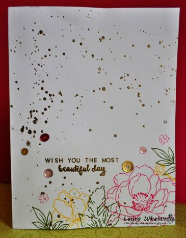 Heat embossed handmade card using Altenew's Beautiful Day & Peony Bouquet stamp sets.