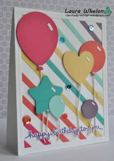 Handmade birthday balloons card using lots of Lawn Fawn dies and stamps.