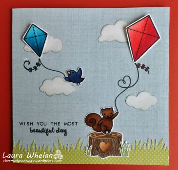 Red, White and Beautiful Day handmade card using Lawn Fawn's Yay, Kites! stamps and dies.