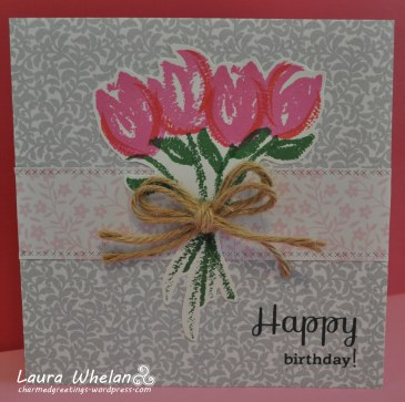 Quick and easy pink tulip birthday card using Altenew Brush Art Floral Stamp Set!