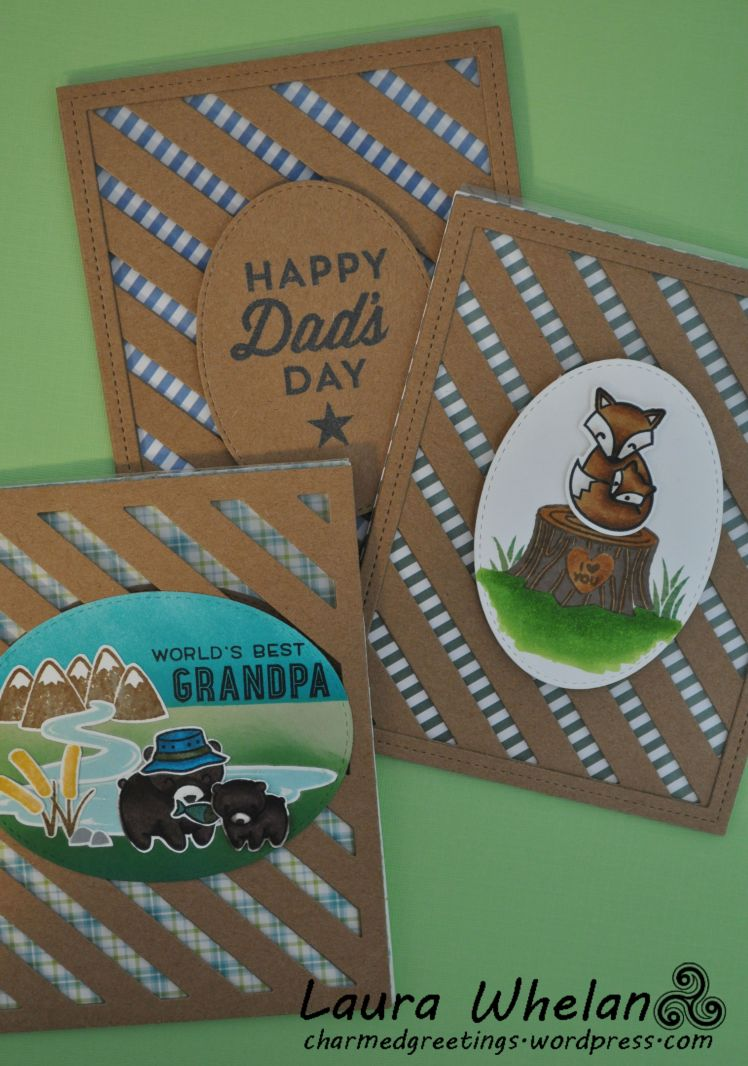 Acetate front masculine card using Lawn Fawn Stripey Background Die, Dad + Me stamps, Mom & Me stamps, and My Favorite Things For the Boys stamps.