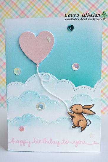 Sweet Bunny Birthday Card using Lawn Fawn Yay, Kites!, Puffy Cloud Border, Scripty Sayings and coloured with Copic markers and Distress Inks.