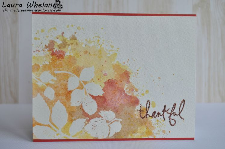 Autumn Leaves created with Distress Inks and heat embossing. Watercolor technique created with ink smooshing technique.