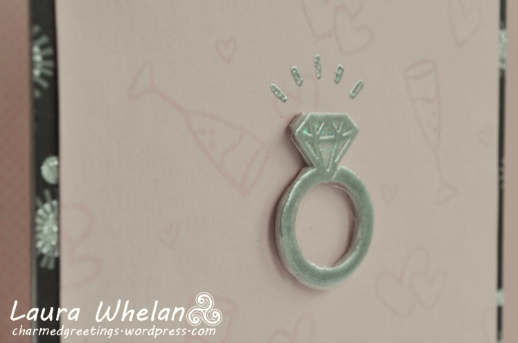 Watermark diamond ring bling engagement card using Lawn Fawn's Happy Wedding stamps and dies.