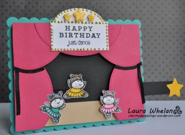 Fun interactive card using Clearly Besotted Trouble in a Tutu stamp set. Pull tab slider card has a fun surprise when you pull the star tab!!