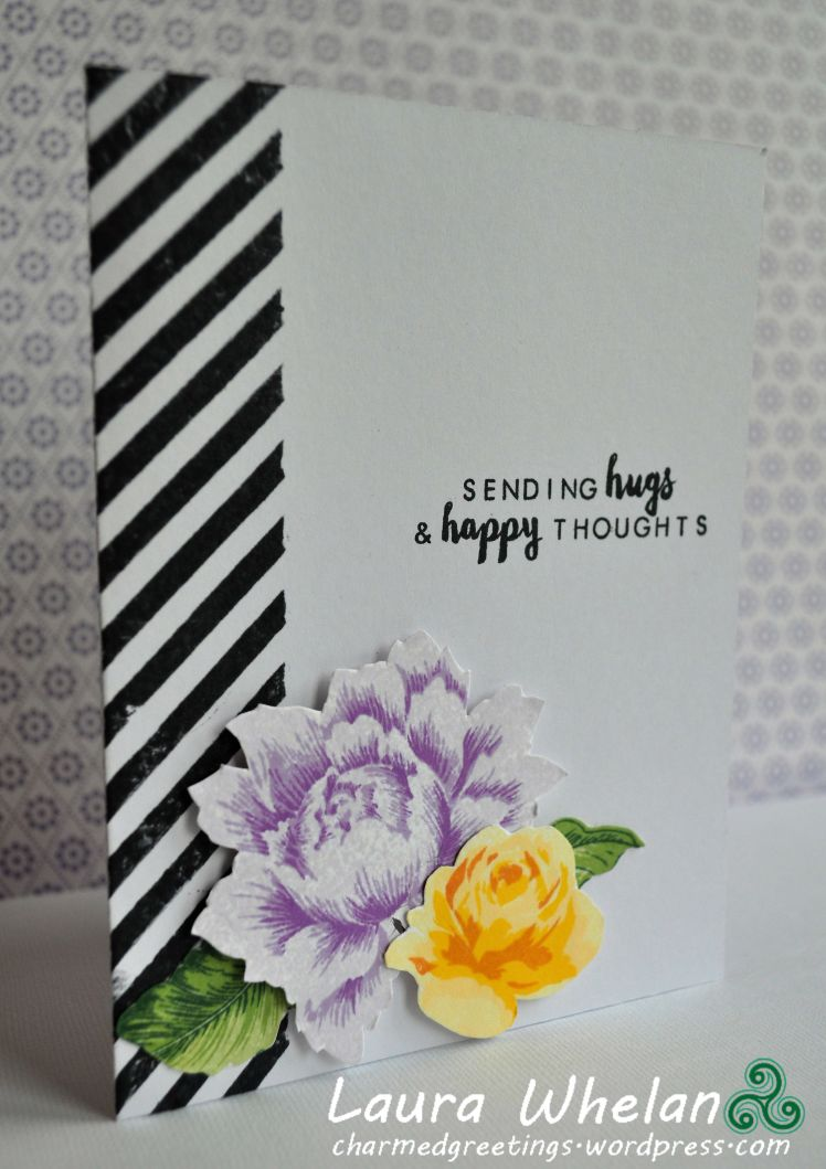 Handmade card featuring stamped modern bold stripes and pretty peony from Altenew Peony Bouquet stamp set and inks.