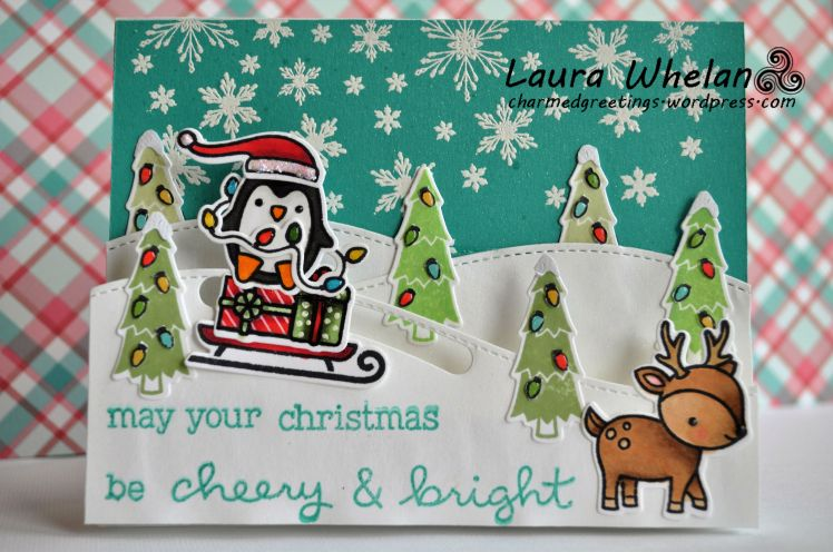 Fun interactive Christmas slider card using Lawn Fawn's Tobaggan Together stamps and dies, Lawn Fawn Cheery Christmas stamps and dies, Lawn Fawn Slide on Over dies, and copic colouring!