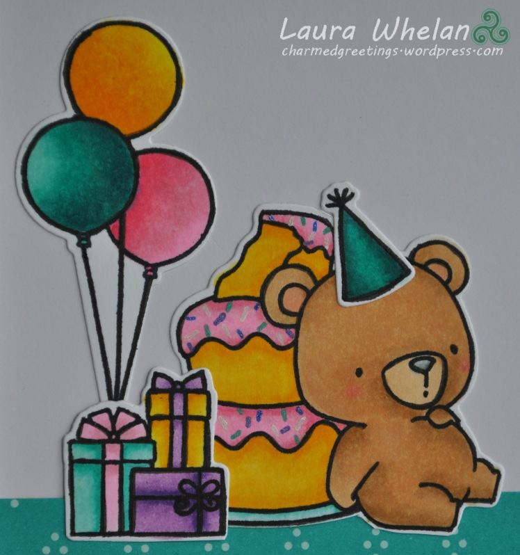 Handmade birthday card using My Favorite Things Beary Special Birthday stamps and dies. Coloured using Copic markers.