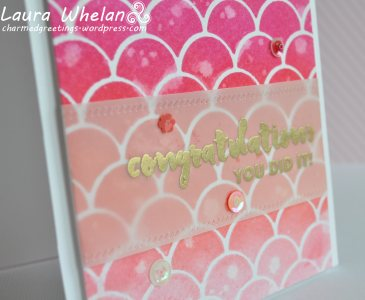 Stenciled Distress Inked background using My Favorite Things Cascading Scallop stencil.