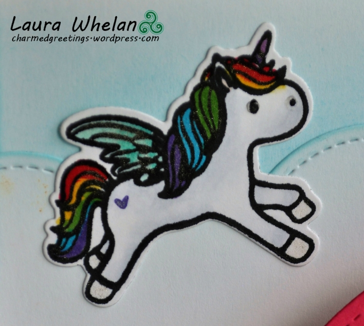 Interactive pop-up card using Mama Elephant Unicorns & Rainbows stamp and die set.
