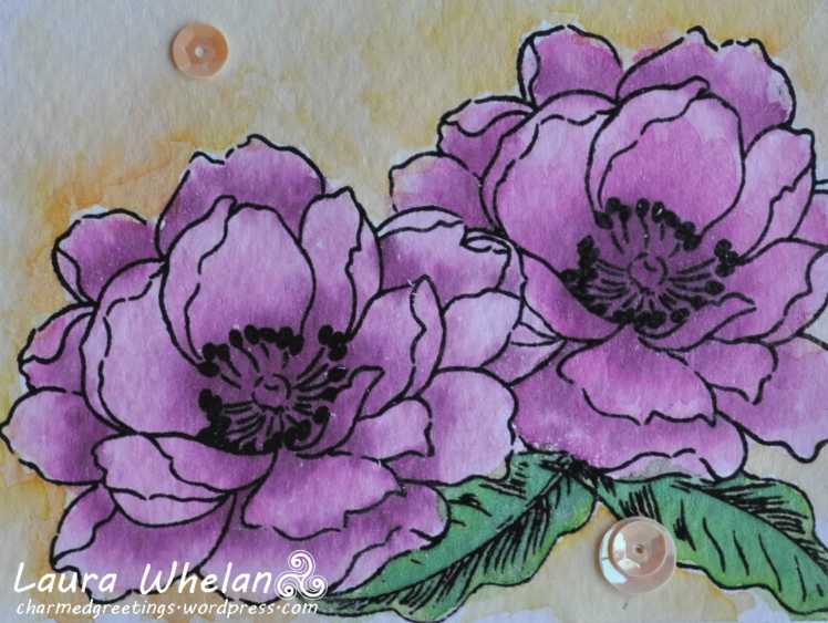 Altenew Beautiful Day watercoloured with Distress Inks and Perfect Pearls.