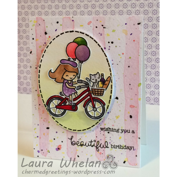 Watercolour background using Mama Elephant Brush Strokes stamp set & Distress Inks. Cheerful birthday card features Lawn Fawn Bicycle Built for You coloured with Copic markers.