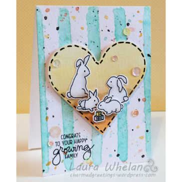 Adorable Mama Elephant New Family stamped baby card using watercolor stamping technique, Distress Inks and Copic markers.