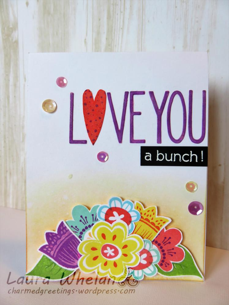 Mother's Day card featuring Reverse Confetti Blooms 'N Buds stamp set and Neat & Tangled Journaling Alpha die.