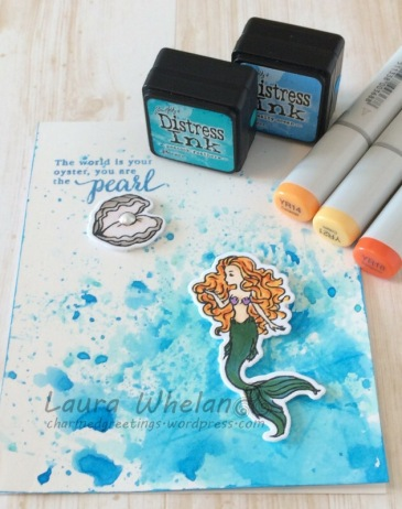 CAS card featuring Hero Arts My Monthly Hero Kit from May 2017. Created a Distress watercolour background and colored the mermaid image with Copic markers.