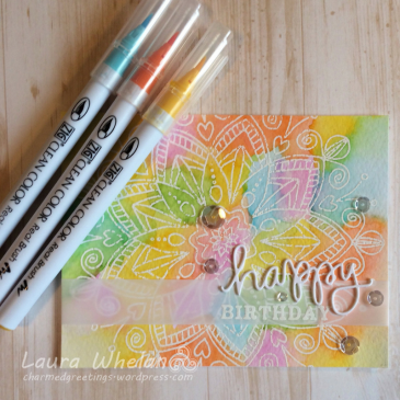 Rainbow watercolor birthday card using heat embossing resist technique and Zig Clean Color Real Brushes.