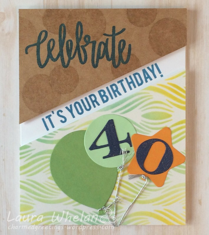 Stencilled 40th handmade birthday card featuring Neat & Tangled Celebrate stamp and Hero Arts Abstract Waves stencil.