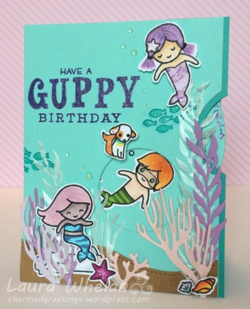 Handmade children's interactive, spinner card turning Lawn Fawn Mermaid For You Stamp into Bubble Guppies!