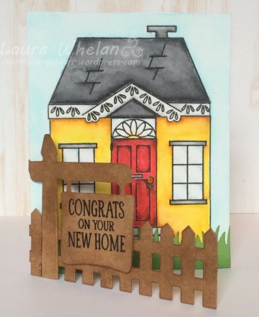 New Home handmade shaped card watercolored with Zig Clean Color Real Brushes using Avery Elle Welcome Home Stamp and Neat & Tangled Welcome Home Stamp and Die.