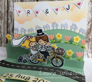 Handmade, customized wedding card using Lawn Fawn Bicycle Built for You Stamp, Stitched Hillside Pop-Up, and Everyday Pop-Up.