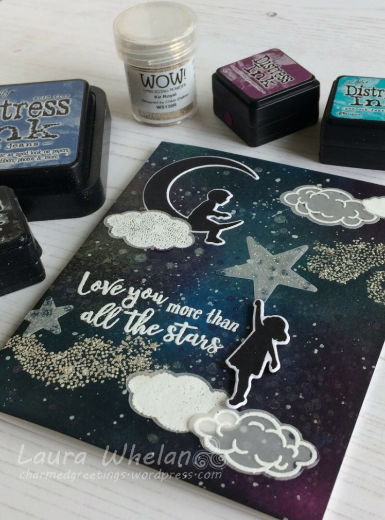 Three galaxy background handmade cards using Hero Arts My Monthly Hero August 2017 Kit.