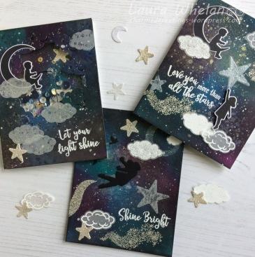 Three galaxy background handmade cards using Hero Arts My Monthly Hero August 2017 Kit.