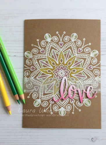Handmade card using Polychromos colored pencils and Simon Says Stamp Star Flower Background Stamp.