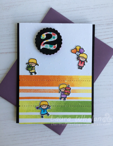 Handmade, children's birthday card using bright, rainbow colors. Used Simon Says Stamp Basic Stripes stamp, Avery Elle Fly By stamp, Mama Elephant Little Girl Agenda stamp and Number It dies.