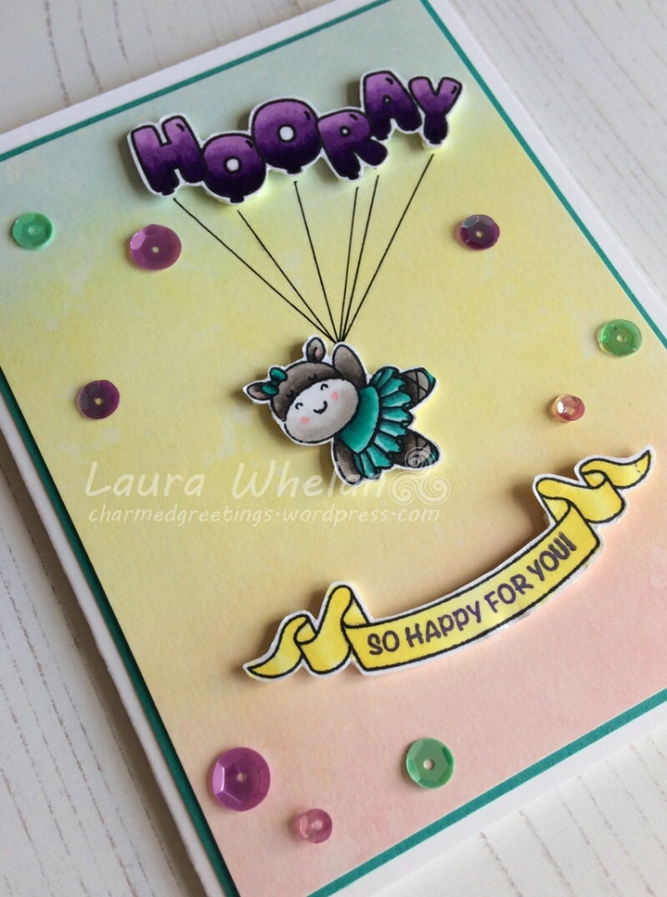 Handmade congratulations card featuring Clearly Besotted's Trouble in a Tutu and Mama Elephant's Celebration Balloons Stamp Set. Background is blended Distress Inks.