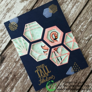 Dimensional handmade card featuring a window using the Cabana Tile Die, Stand Tall Stamp, and the Fearless Pursuit Stamp from the July 2018 Catherine Pooler Stamp of Approval Box.