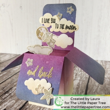 Handmade interactive pop up box card using an ink blending technique. Uses Honey Bee Heaven Sent stamp set and distress inks.