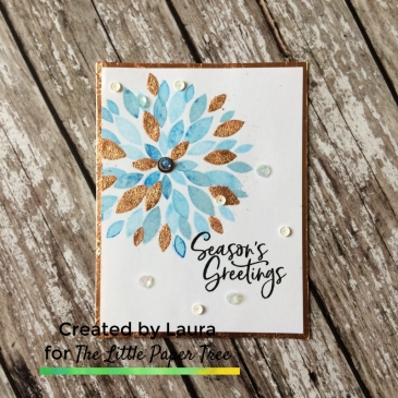 Handmade blue foiled dahlia card using Concord & 9th Dahlia Turnabout Stamp and Nuvo Gilding Flakes.