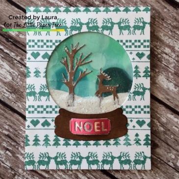 Handmade Christmas shaker card using Catherine Pooler Designs Snow Globe Dies.